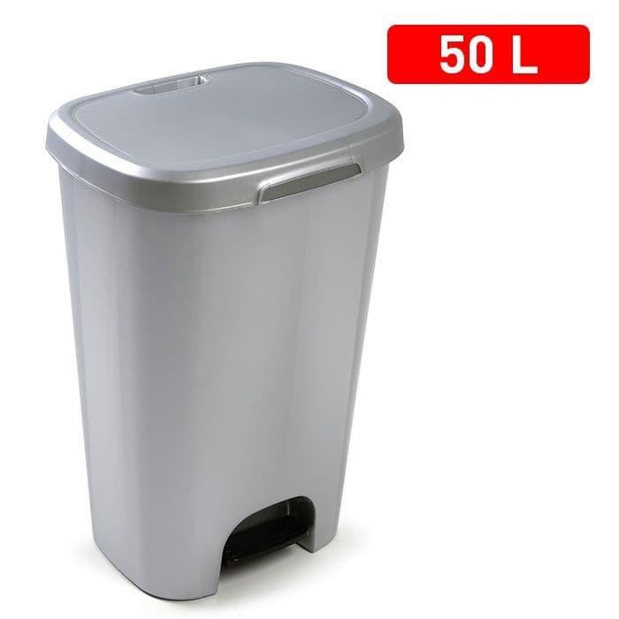 Plasticforte 50L Pedal Bin & Lid - Silver